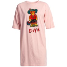Toast and Jammies Nightshirt - Missy Cut, Short Sleeve (For Women) in Diva Bear-Pink - Closeouts