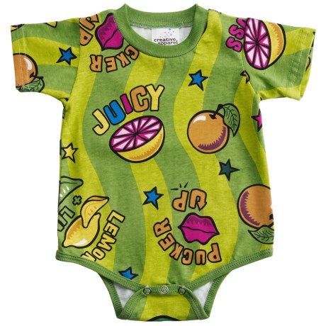 Toast & Jammies Printed Baby Bodysuit - Cotton, Short Sleeve (For Infants and Toddlers) in Sour Puss