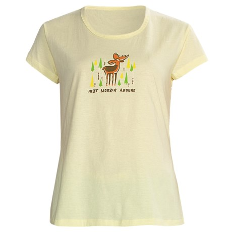 Toast and Jammies Printed Cotton Tee Shirt - Contemporary Cut, Short Sleeve (For Women) in Just Moosin Around