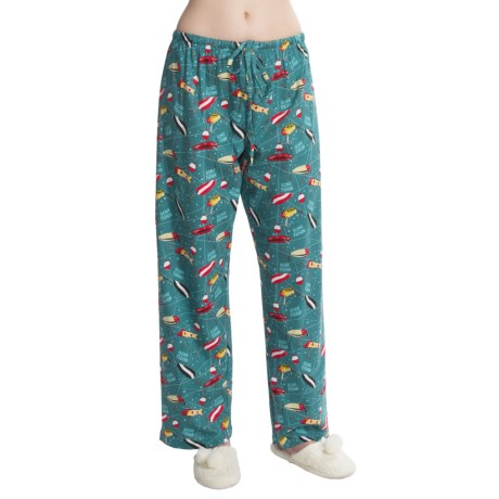 Toast and Jammies Printed Drawstring Pants - Jersey Knit Cotton, Missy Cut (For Women) in Gone Fishing