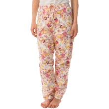 Toast and Jammies Printed Drawstring Pants - Jersey Knit Cotton, Missy Cut (For Women) in Grits Floral Print - Closeouts