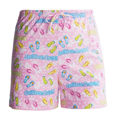 Toast and Jammies Printed Lounge Shorts - Cotton, Missy Cut (For Women) in Caribbean Flip Flop