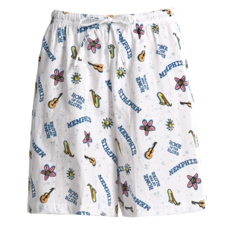 Toast and Jammies Printed Lounge Shorts - Cotton, Missy Cut (For Women) in Memphis Blues
