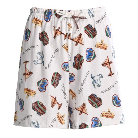 Toast and Jammies Printed Lounge Shorts - Cotton, Missy Cut (For Women) in Weathered Map