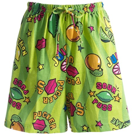 Toast and Jammies Printed Lounge Shorts - Cotton, Missy Cut (For Women) in Sour Puss