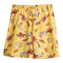 Toast and Jammies Printed Lounge Shorts - Cotton, Missy Cut (For Women) in Walking The Dog/Doggy Walks - Closeouts