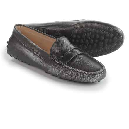 Tod's Distressed Slip-On Moccasins - Leather (For Women) in Silver - Closeouts