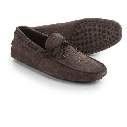 Tod's Gommini Driving Shoes - Textured Suede (For Men) in Brown - Closeouts