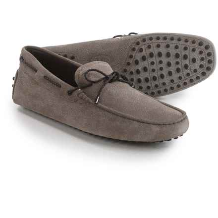 Tod's Gommini Driving Shoes - Textured Suede (For Men) in Grey - Closeouts