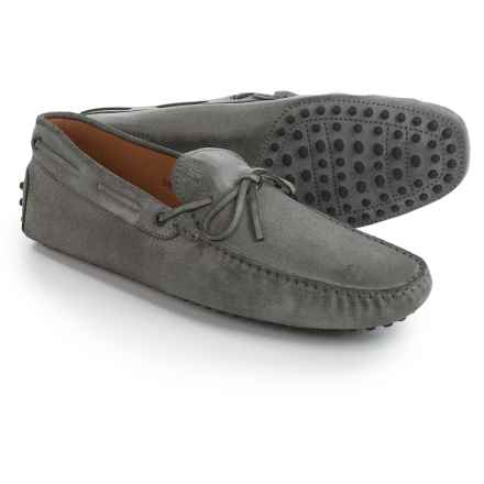 Tod's Gommini Lace Driving Shoes - Leather (For Men) in Grey - Closeouts