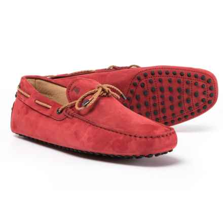 Tod's Made in Italy Gommini Driving Moccasins - Suede (For Men) in Orange Red - Closeouts