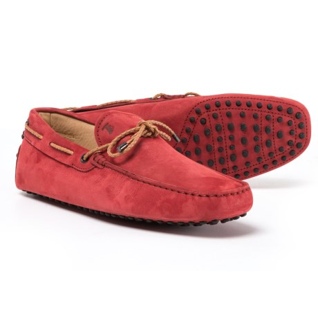 Tod's Made in Italy Gommini Driving Moccasins - Suede (For Men) in Orange Red