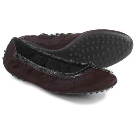 Tod's Printed Ballet Flats - Calf Hair  (For Women) in Maroon - Closeouts