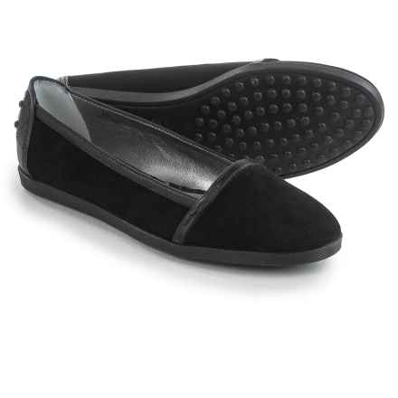 Tod's Suede Flats - Slip-Ons (For Women) in Black - Closeouts