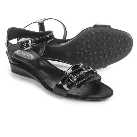 Tod's Two-Strap Wedge Sandals - Leather (For Women) in Black - Closeouts