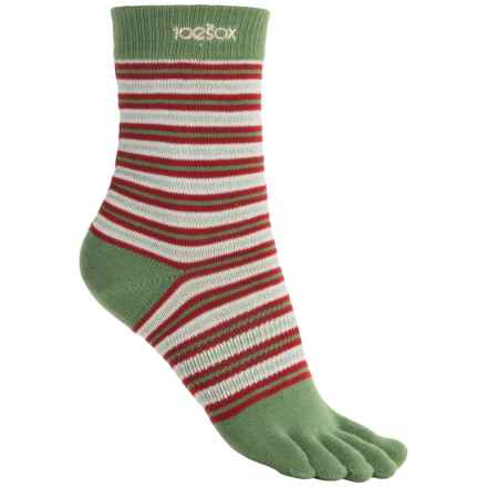 ToeSox Casual Full Toe Socks - Organic Cotton, Crew (For Women) in Peppermint Pattie - Closeouts