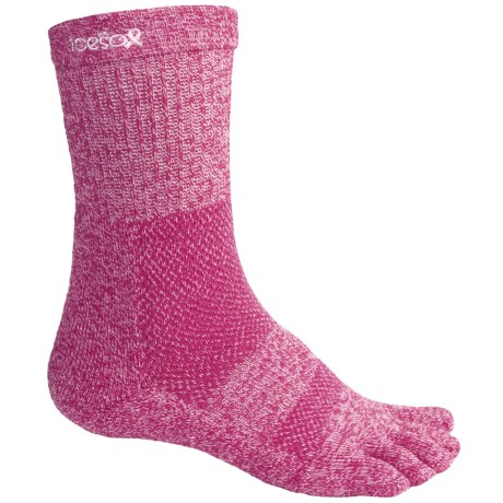 ToeSox ULTRA Sport Crew Socks - Lightweight (For Men and Women) in Pink