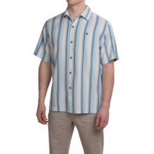 Tommy Bahama Al Dente Stripe Silk Shirt - Short Sleeve (For Men and Big Men) in Bengal Blue - Closeouts