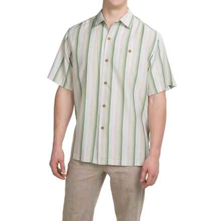 Tommy Bahama Al Dente Stripe Silk Shirt - Short Sleeve (For Men and Big Men) in French Clay - Closeouts
