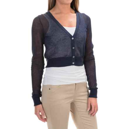 Tommy Bahama Anacapa Cropped Cardigan Sweater - Linen-Cotton (For Women) in Ocean Deep - Overstock