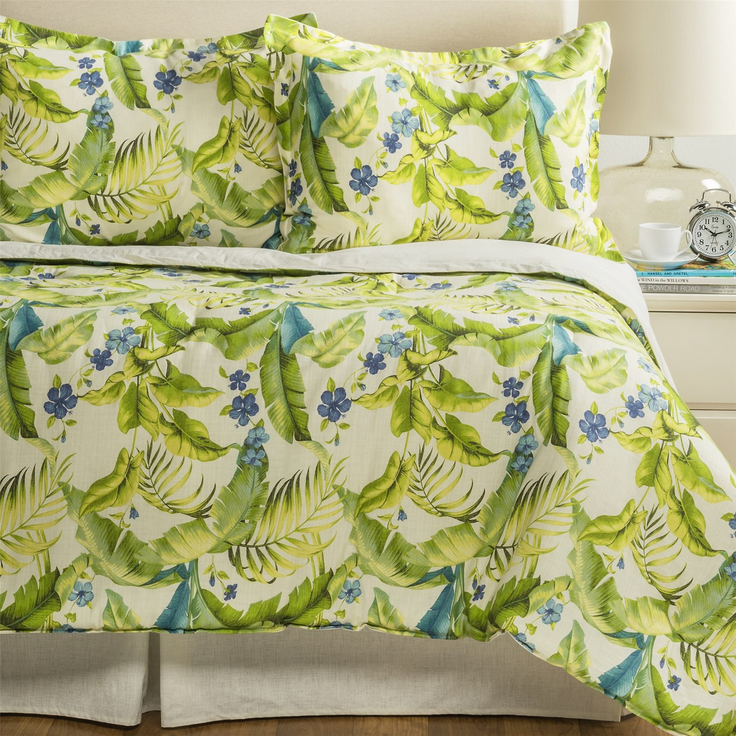 Tommy Bahama Furniture Closeouts #17: Tommy Bahama Blue Palm Comforter Set - Queen In Ivory/Green/Blue ...