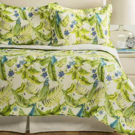 Tommy Bahama Blue Palm Comforter Set - Queen in Ivory/Green/Blue - Closeouts
