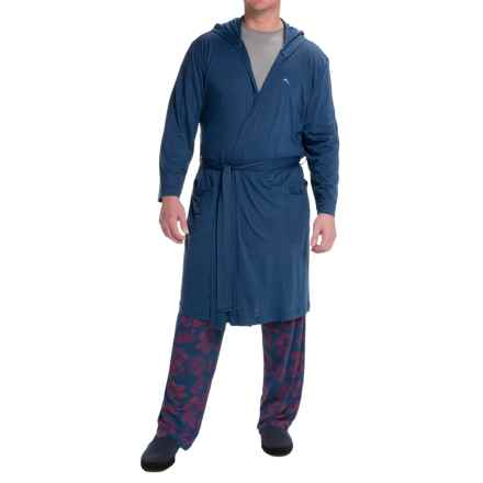 Tommy Bahama Cotton-Modal Jersey Bathrobe - Long Sleeve (For Men) in Blueberry - Closeouts