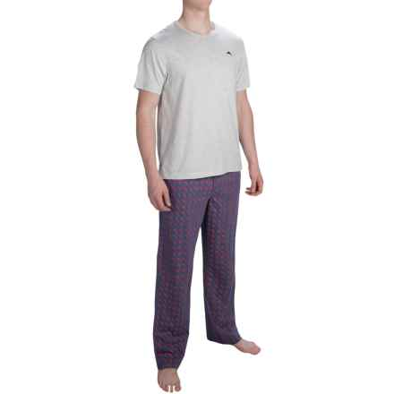 Tommy Bahama Cotton Modal Pajamas - Short Sleeve (For Men) in Grey/Navy Print - Closeouts
