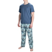 Tommy Bahama Cotton-Modal Pajamas - Short Sleeve (For Men) in Navy/Blue Waves - Closeouts