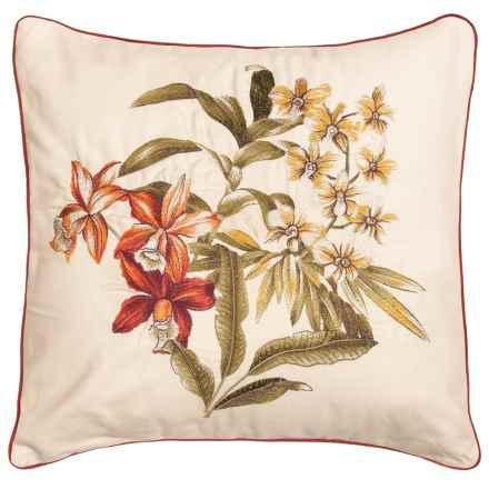 """Tommy Bahama Daintree Embroidered Throw Pillow - 18x18"""" in Flower - Closeouts"""