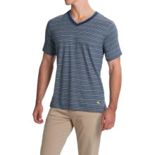 Tommy Bahama Feeder Stripe T Shirt - V-Neck, Short Sleeve (For Men) in Stripe Blue Heather - Closeouts