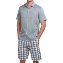 Tommy Bahama Giovanni Jacquard Shirt - Short Sleeve (For Men) in Light Blue - Closeouts