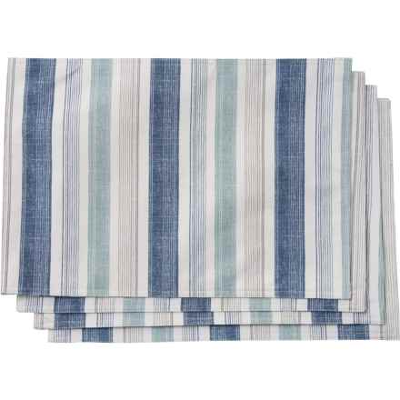 """Grey Blue Remi Cabana Stripe Placemats - 13x19"""", Set of 4 in Grey Blue"""