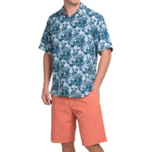 Tommy Bahama Hibiscus Alfresco Silk Shirt - Short Sleeve (For Men and Big Men) in Dark Sea - Closeouts