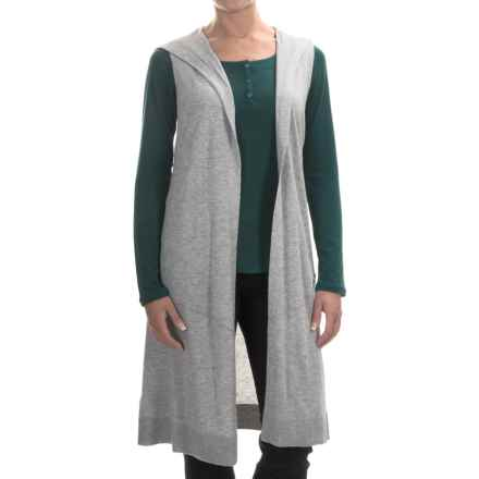 Tommy Bahama Hobar Hooded Long Vest (For Women) in Fossil Grey Heather - Overstock