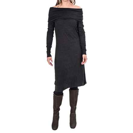Tommy Bahama Hobart Off-the-Shoulder Dress - Viscose-Wool, Long Sleeve (For Women) in Noir Heather - Closeouts