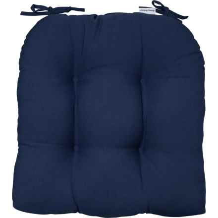 """Indoor-Outdoor Tufted Chair Pads - 2-Pack, 20x20"""", Medieval Blue in Medieval Blue"""
