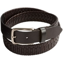 Tommy Bahama Island Grid Leather Belt (For Men) in Black/Brown - Closeouts