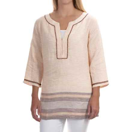 Tommy Bahama Mahina Striped Tunic Shirt - Linen, 3/4 Sleeve (For Women) in Briarwood - Overstock