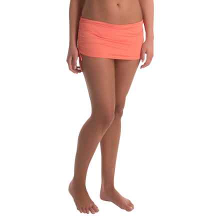 Tommy Bahama Pearl Side-Shirred Skirt Bikini Bottoms (For Women) in Coral - Overstock