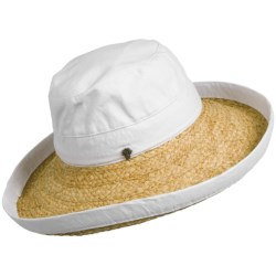 Tommy Bahama Raffia Brim Sun Hat - Cloth Crown (For Women) in White