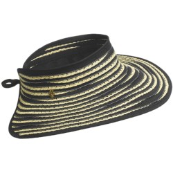 Tommy Bahama Ribbon and Paper Braid Visor (For Women) in Black