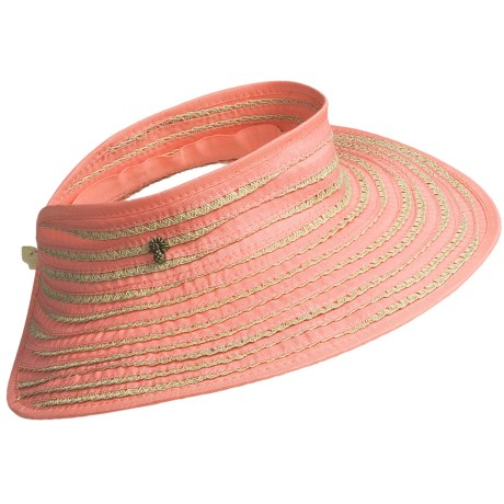 Tommy Bahama Ribbon and Paper Braid Visor (For Women) in Coral