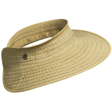 Tommy Bahama Ribbon and Paper Braid Visor (For Women) in Toast