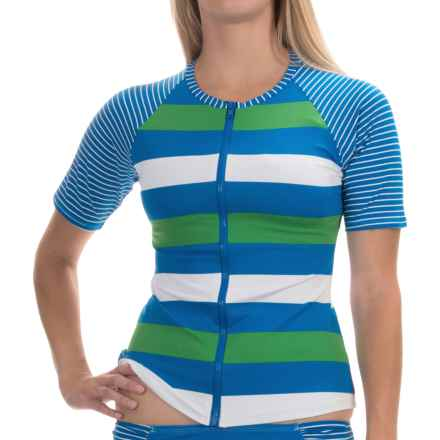 Tommy Bahama Rugby Rash Guard - Full Zip, Short Sleeve (For Women) in Sailor Blue - Overstock