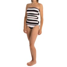 Tommy Bahama Rugby Stripe Bandeau One-Piece Swimsuit (For Women) in Black/Blush/White - Overstock