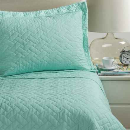 Tommy Bahama Solid Reversible Quilt Set - Twin in Harbor Blue - Closeouts