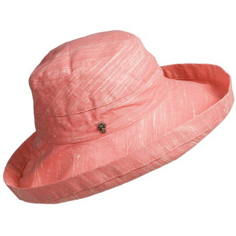 Tommy Bahama Sun Washed Sun Hat - Crushable, Cotton Canvas (For Women) in Coral