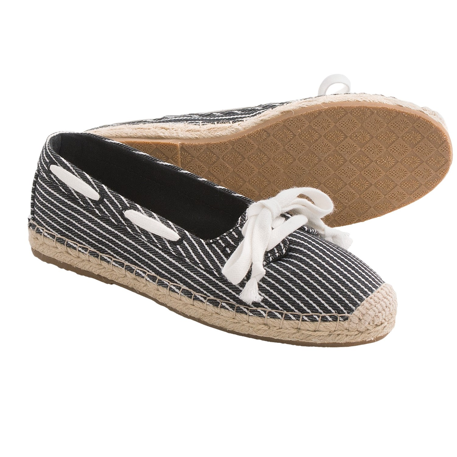 Superdry Espadrille Womens Shoes - Off White/Navy Stripe | Free