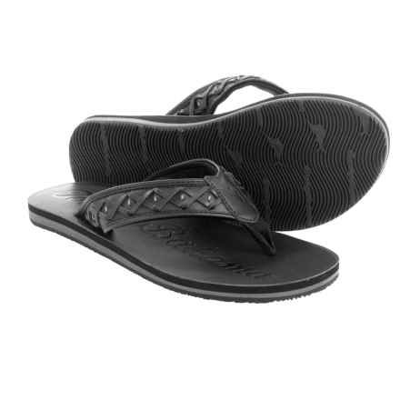 Tommy Bahama Waiheke Flip-Flops - Leather (For Men) in Black - Closeouts